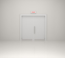 Emergency exit sign and white door