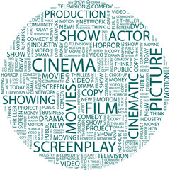CINEMA. Wordcloud vector illustration.