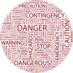DANGER. Word collage on white background.