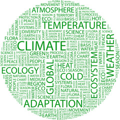 CLIMATE. Wordcloud illustration.