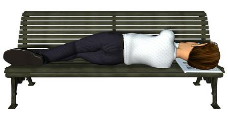 3d businessman sleeping on the bench