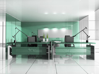 Workplace at modern office