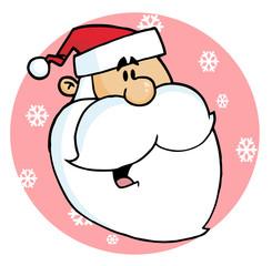 Happy Cartoon Santa Head Facing Right On A Pink Snowflake Circle