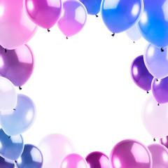 cornice quadrata con palloncini rosa e azzurri