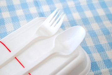 Packed meal in white container with utensils