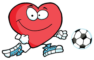 Cartoon Red Heart Playing With Soccer Ball