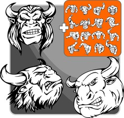 Wild brown oxen with terrible horn. Mascot template.