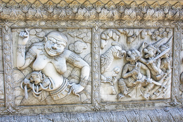 ancient art  about Ramayana on the wall