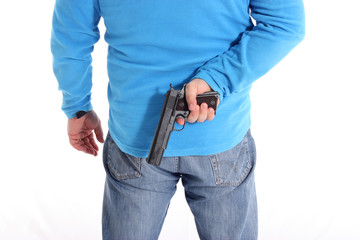 Men with a gun isolated on white background