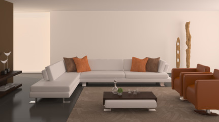 Modern interior of living-room.