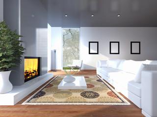 Soggiorno con divano caminetto quadri e tappeto