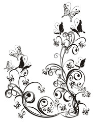 Frame  with butterfly and floral ornament, vector
