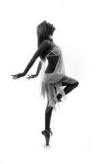 young and beautiful ballerina in white dress over white backgrou
