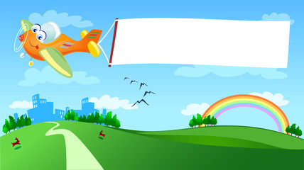 Printed roller blinds Airplanes, balloon Aereo e banner