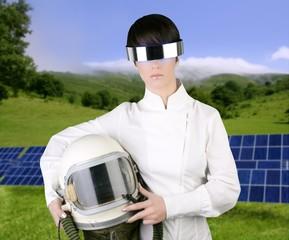 futuristic spaceship aircraft astronaut helmet woman