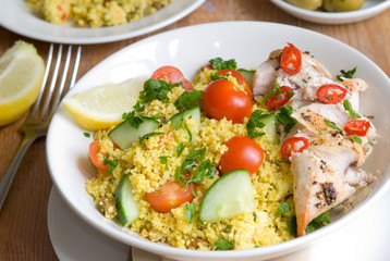 Chicken tabouleh in a bowl