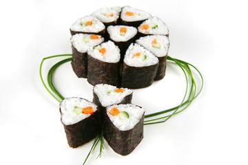 served sushi rolls