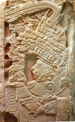 Relief in ruins of Yachilan Mexico