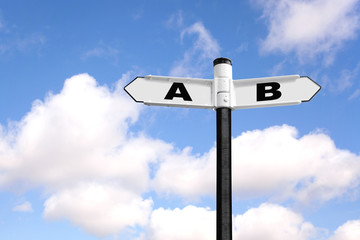From A to B signpost