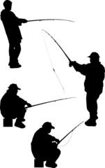 four fishermen silhouettes isolated on white