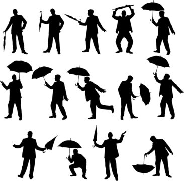 Man and umbrella silhouettes