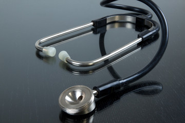 stethoscope on the shining table
