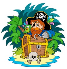 Poster Pirates Small island and pirate with hook