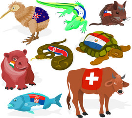 Set of a soccer animal fans D