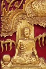 buddhist art on door of temple,  Na Kha, Wapipatum, Mahasarakam