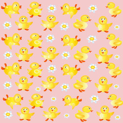 Pink background with ducklings