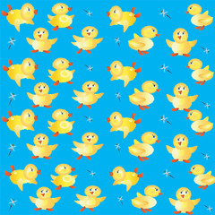 Blue background with ducklings.