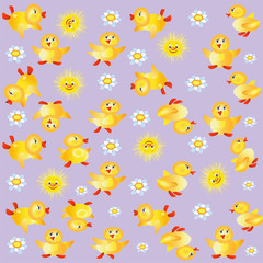 Lilac background with ducklings.