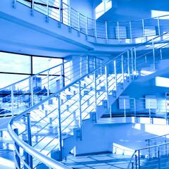 Blue stair in modern office center
