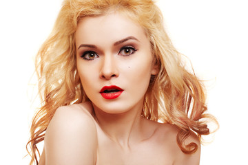 Beautiful woman with blond hair and luxury make-up