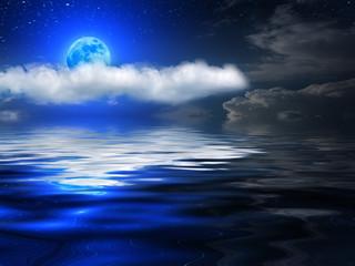 Sky  clouds  sea  moon