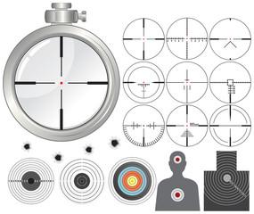 Shooting kit-targets,cross-hairs,dummies,guns sight