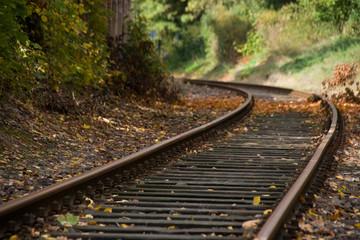 Bahnschiene in der Kurve