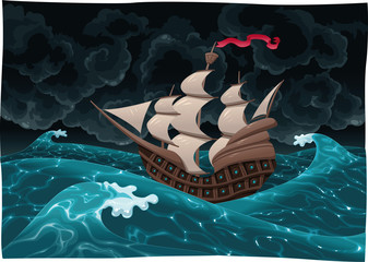 Galleon in the sea with storm. Cartoon and vector illustration