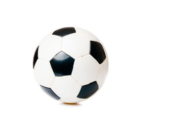 black and white soccer ball isolated on the white background