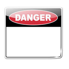 Pegatina DANGER con espacio en blanco