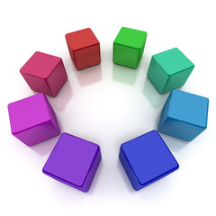 Colourful cubes circle