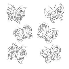 "Set of vector sketches "" Beautiful Butterflies"""