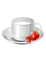 cup of milk and srtawberry
