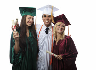 asian man and two women graduates in cap and gown