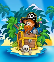 Fototapeten Pirates Small island with pirate and chest