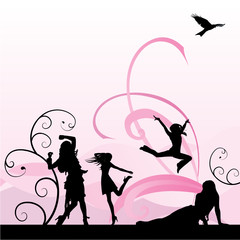 dansinng girls on pink background