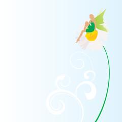 green fairy on the grass vector