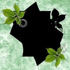 fond vert et cadre