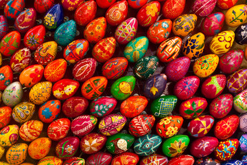 Easter eggs. Abstract colored background.