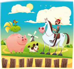 Aluminium Prints Wild West Funny farmer with animals. Cartoon and vector illustration.